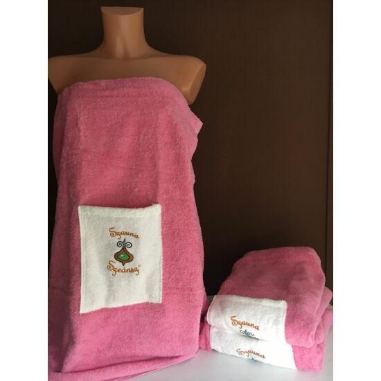 Egyrészes szaunaruha nőknek - rózsaszín fehér zsebbel (S/M/L)