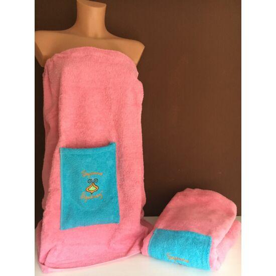 Egyrészes szaunaruha nőknek - rózsaszín kék zsebbel (M)